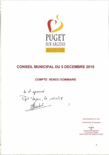 Compte rendu Conseil municipal du 5 décembre 2018