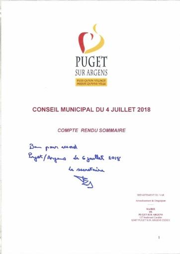 Compte rendu du conseil municipal du 4 juillet 2018