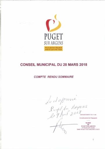 Compte rendu Conseil municipal du 28 mars 2018