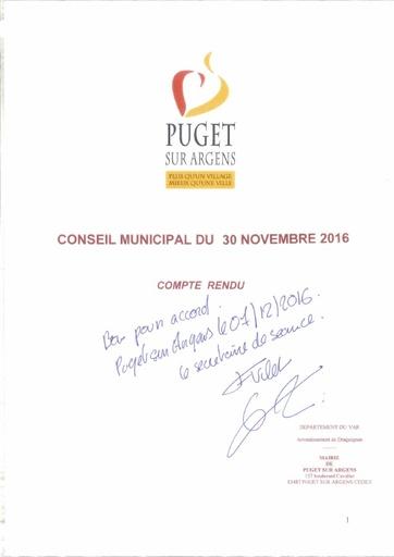 Compte rendu du Conseil municipal du 30 novembre 2016
