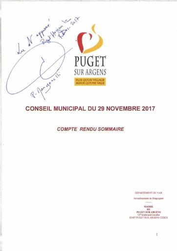 Compte rendu du Conseil municipal du 29 novembre 2017