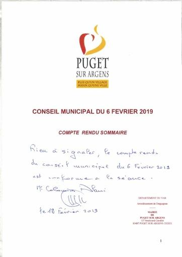 Compte rendu Conseil municipal du 06 février 2019