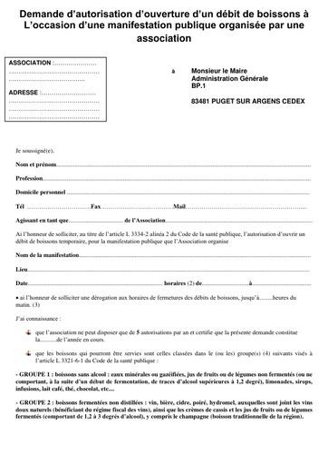Demande d'autorisation de débit de boissons - Association