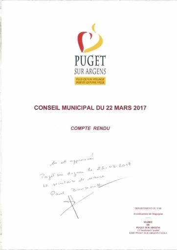 Compte rendu du Conseil municipal du 22 mars 2017
